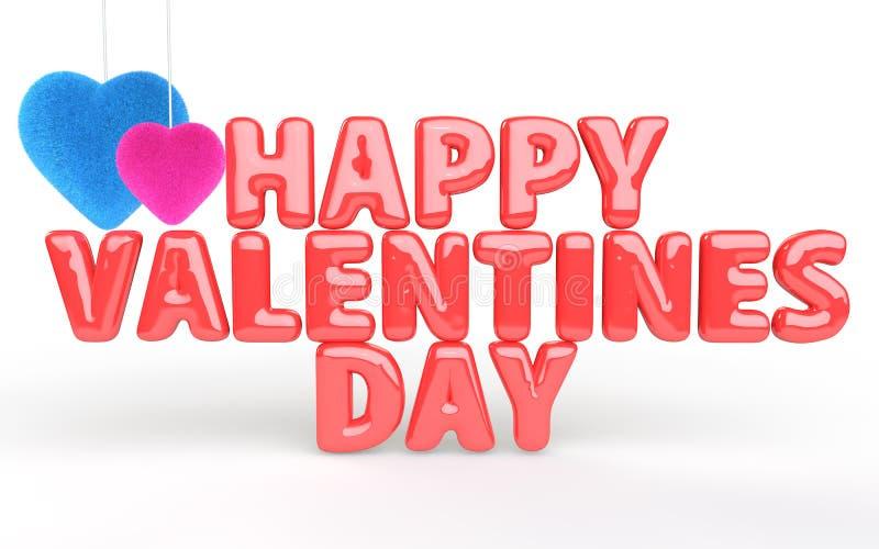 Ευτυχές κείμενο μπαλονιών ημέρας βαλεντίνων με τις καρδιές ελεύθερη απεικόνιση δικαιώματος