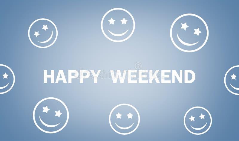 Ευτυχές κείμενο Σαββατοκύριακου με smileys στο μπλε υπόβαθρο στοκ εικόνα με δικαίωμα ελεύθερης χρήσης