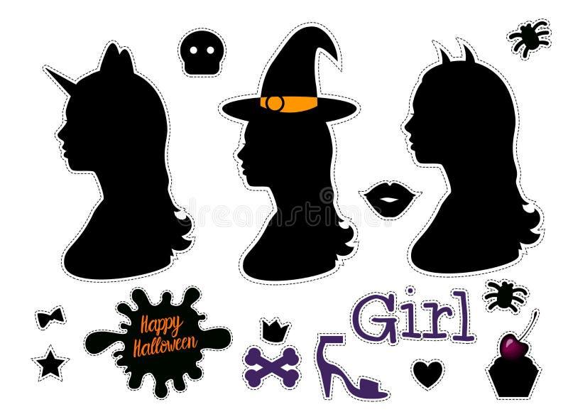 Ευτυχές κεφάλι σκιαγραφιών κοριτσιών αποκριών καθορισμένο με την πλάγια όψη ώμων λαιμών Μαύρες αυτοκόλλητες ετικέττες Διανυσματικ απεικόνιση αποθεμάτων