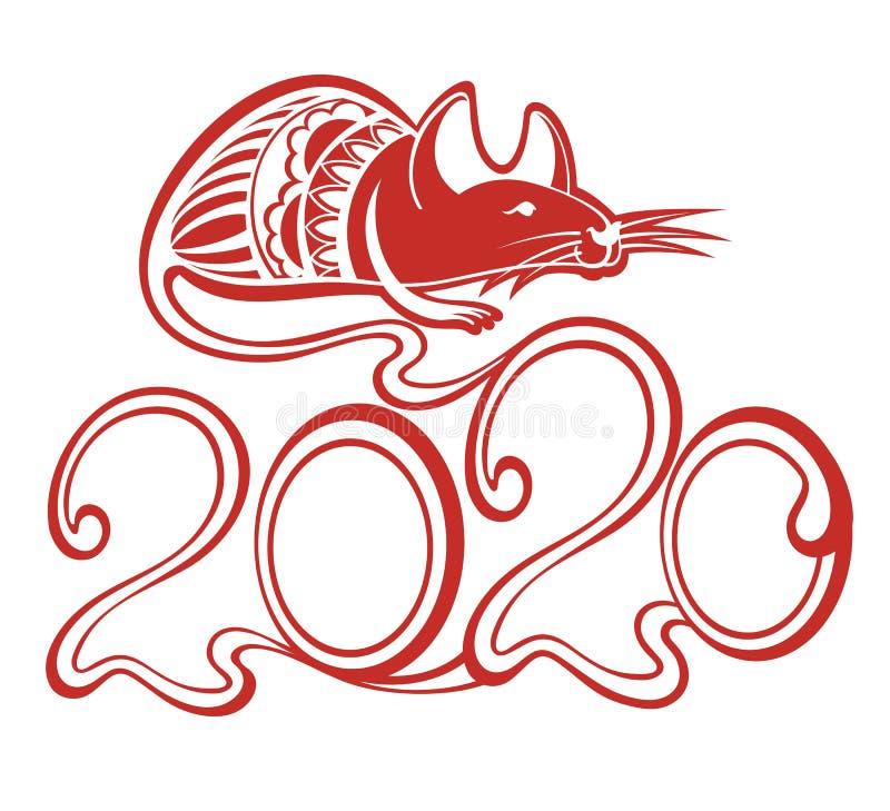 Ευτυχές κινεζικό νέο έτος έτους 2020 Κινεζικό Zodiac έτος σημαδιών αρουραίου διανυσματική απεικόνιση