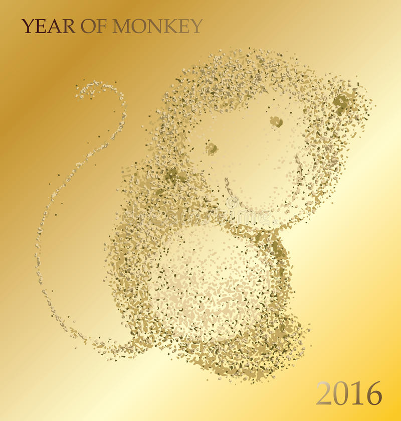 Ευτυχές κινεζικό νέο έτος πιθήκων του 2016 απεικόνιση αποθεμάτων