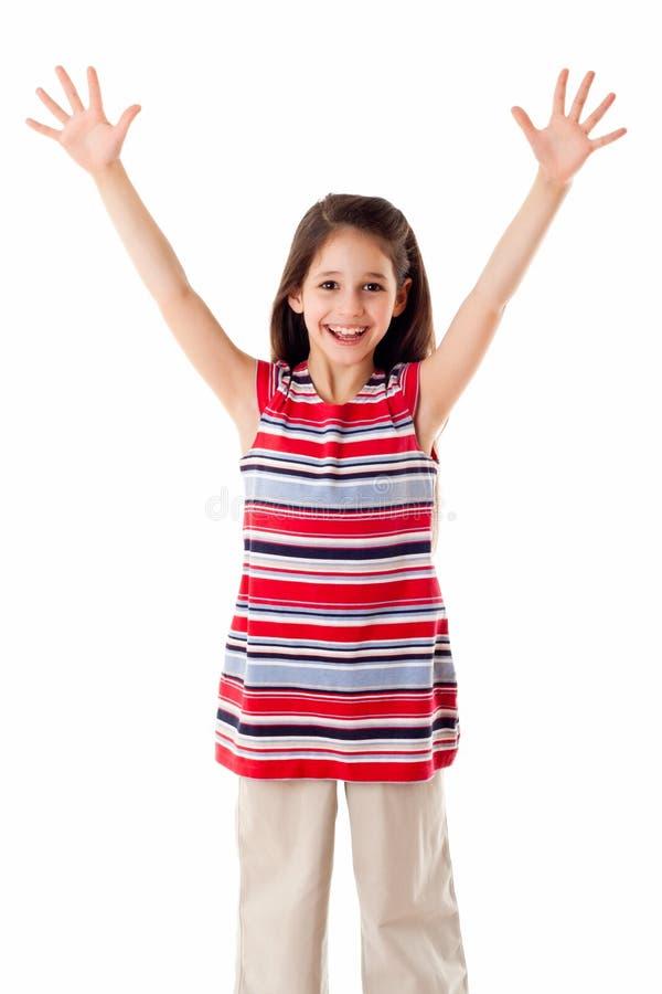 Ευτυχές κορίτσι με τα αυξημένα χέρια στοκ φωτογραφία με δικαίωμα ελεύθερης χρήσης