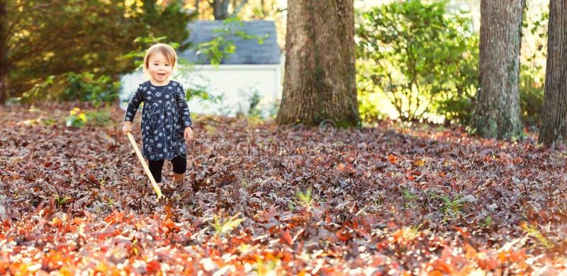 Ευτυχές κορίτσι μικρών παιδιών που μαζεύει με τη τσουγκράνα τα φύλλα στοκ φωτογραφία