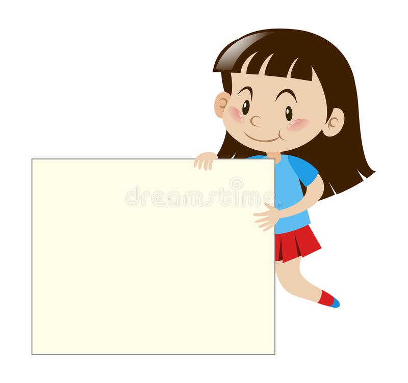 Ευτυχές κορίτσι που κρατά το λευκό πίνακα απεικόνιση αποθεμάτων