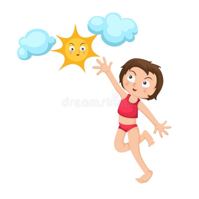 Ευτυχές κορίτσι που πηδά με τον ήλιο διανυσματική απεικόνιση