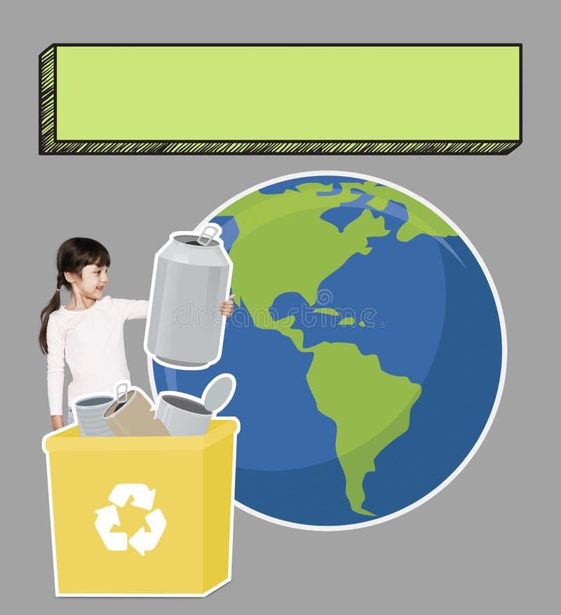 Ευτυχές κορίτσι που συλλέγει το έγγραφο για την ανακύκλωση στοκ φωτογραφία με δικαίωμα ελεύθερης χρήσης