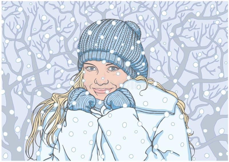Ευτυχές κορίτσι το χειμώνα ελεύθερη απεικόνιση δικαιώματος