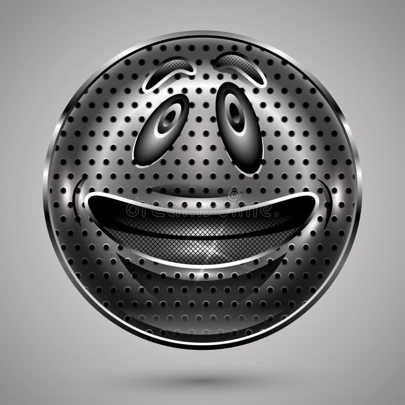 Ευτυχές κουμπί προσώπου Smiley μετάλλων ελεύθερη απεικόνιση δικαιώματος