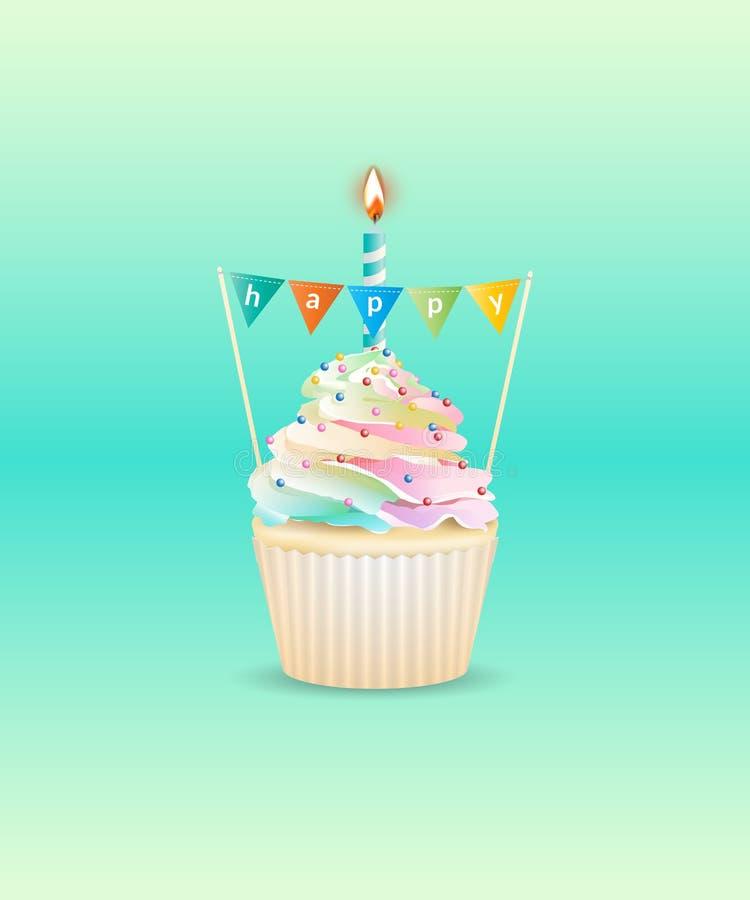 Ευτυχές κρεμώδες cupcake ελεύθερη απεικόνιση δικαιώματος