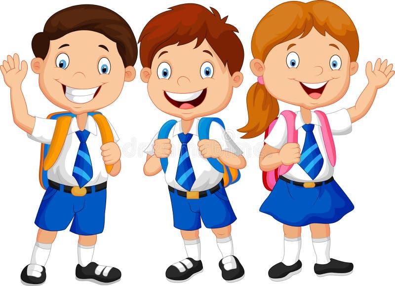 Ευτυχές κυματίζοντας χέρι κινούμενων σχεδίων σχολικών παιδιών απεικόνιση αποθεμάτων