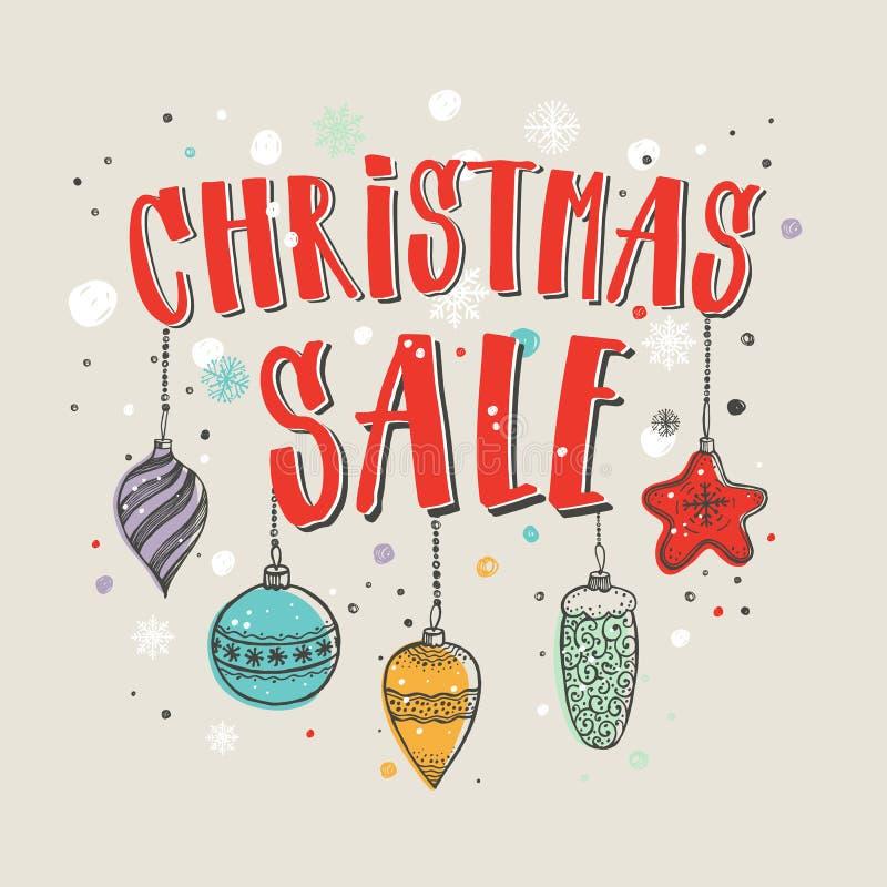 ευτυχές λευκό αγορών πώλησης κοριτσιών Χριστουγέννων ανασκόπησης Διανυσματικό έμβλημα με το γράφοντας κείμενο χεριών και τα διακο ελεύθερη απεικόνιση δικαιώματος