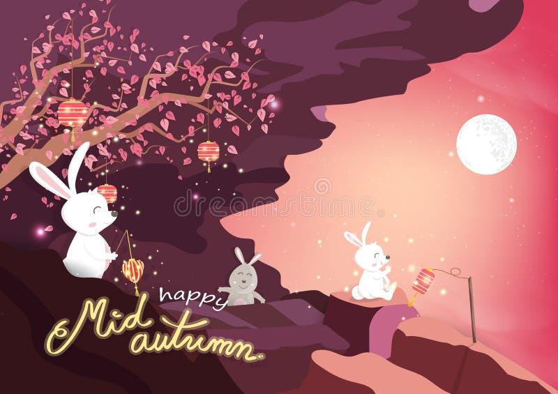 Ευτυχές μέσο φθινόπωρο, χαριτωμένα κινούμενα σχέδια κουνελιών και δέντρο sakura με τη πανσέληνο στα βουνά, ρόδινη έννοια κρητιδογ ελεύθερη απεικόνιση δικαιώματος
