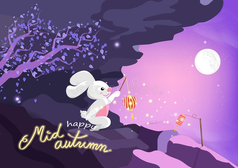 Ευτυχές μέσο φθινόπωρο, χαριτωμένα κινούμενα σχέδια κουνελιών και δέντρο sakura με τη πανσέληνο στα βουνά, πορφυρή κρητιδογραφία  διανυσματική απεικόνιση