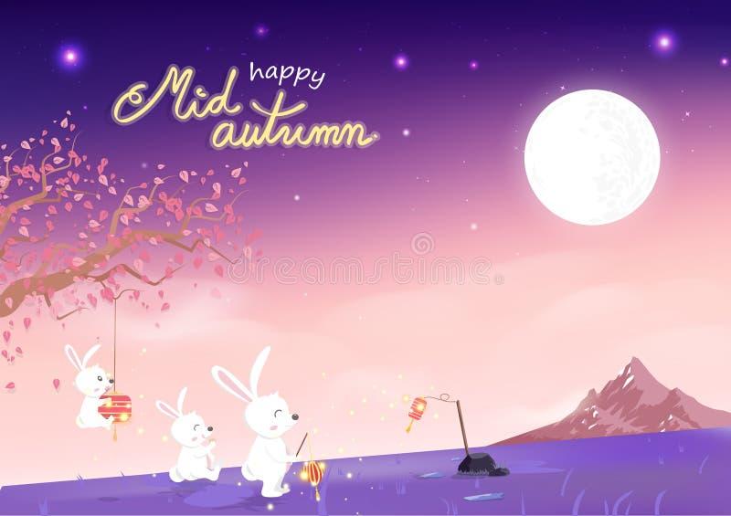 Ευτυχές μέσο φθινόπωρο, χαριτωμένα κινούμενα σχέδια κουνελιών και sakura που μειώνονται με τη πανσέληνο, έννοια φαντασίας, φεστιβ ελεύθερη απεικόνιση δικαιώματος