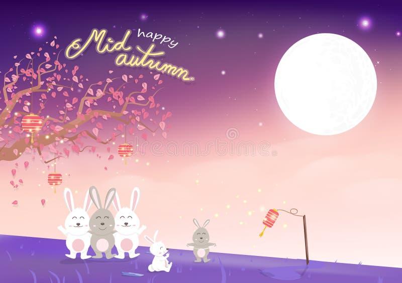 Ευτυχές μέσο φθινόπωρο, χαριτωμένα οικογενειακά κινούμενα σχέδια κουνελιών και sakura που μειώνονται με τη πανσέληνο, έννοια φαντ απεικόνιση αποθεμάτων