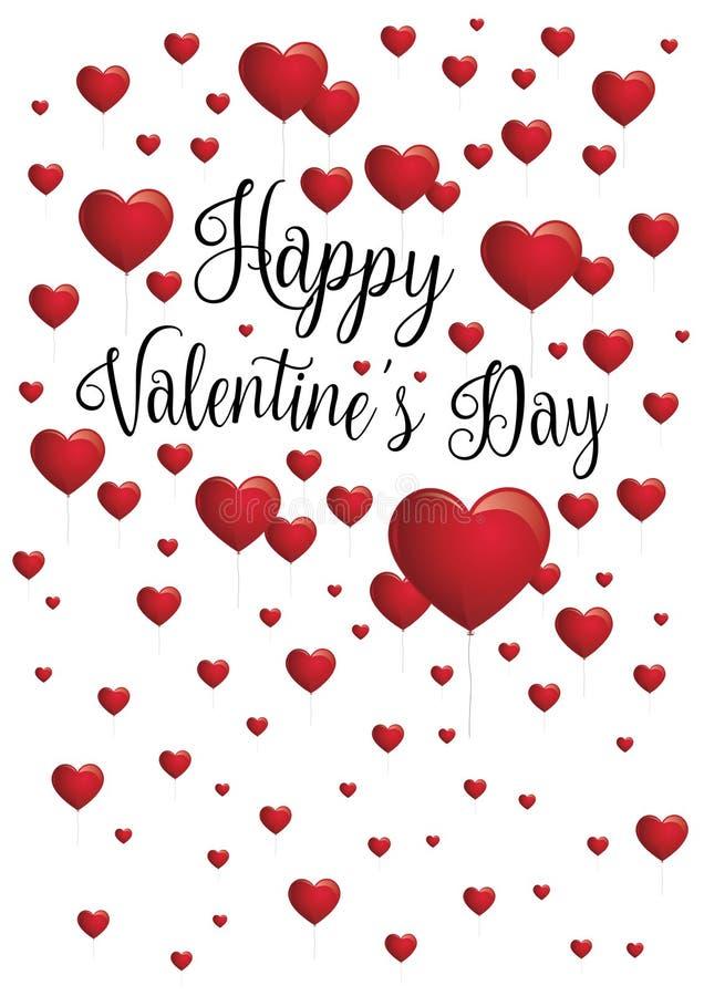 Ευτυχές μήνυμα ημέρας βαλεντίνων ` s με τα κόκκινα καρδιά-διαμορφωμένα μπαλόνια που επιπλέουν στο άσπρο υπόβαθρο διανυσματική απεικόνιση
