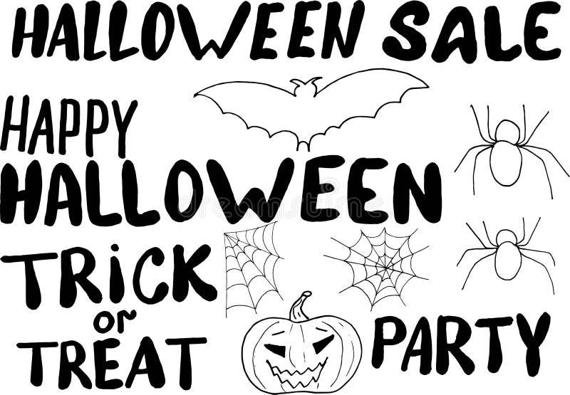 Ευτυχές μήνυμα σχεδίων χεριών αποκριών με τα στοιχεία για το σχέδιο - ρόπαλο, κολοκύθα, αράχνη και ιστός αράχνης διάνυσμα doodle απεικόνιση αποθεμάτων