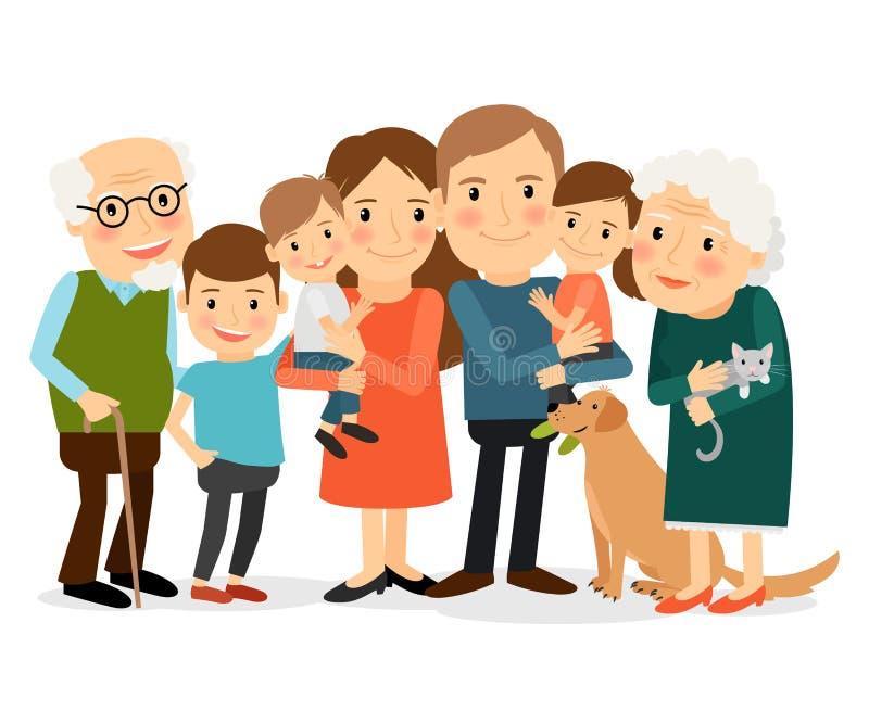 Ευτυχές μεγάλο οικογενειακό πορτρέτο απεικόνιση αποθεμάτων