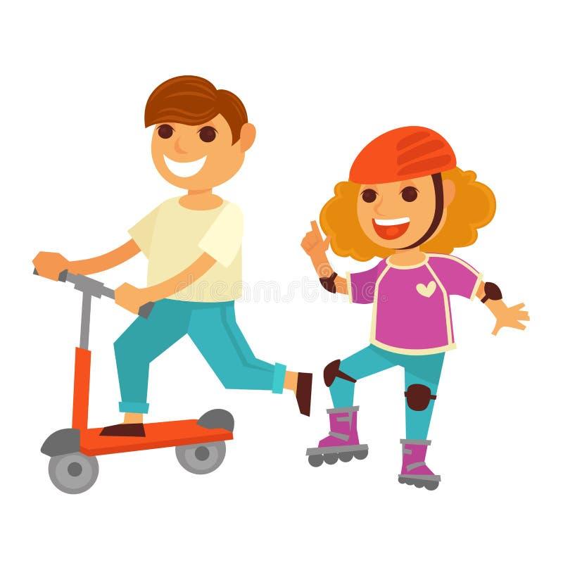 Ευτυχές μηχανικό δίκυκλο κυλίνδρων πατινάζ κοριτσιών και αγοριών παιδιών που παίζει τα υπαίθρια διανυσματικά παιχνίδια διανυσματική απεικόνιση