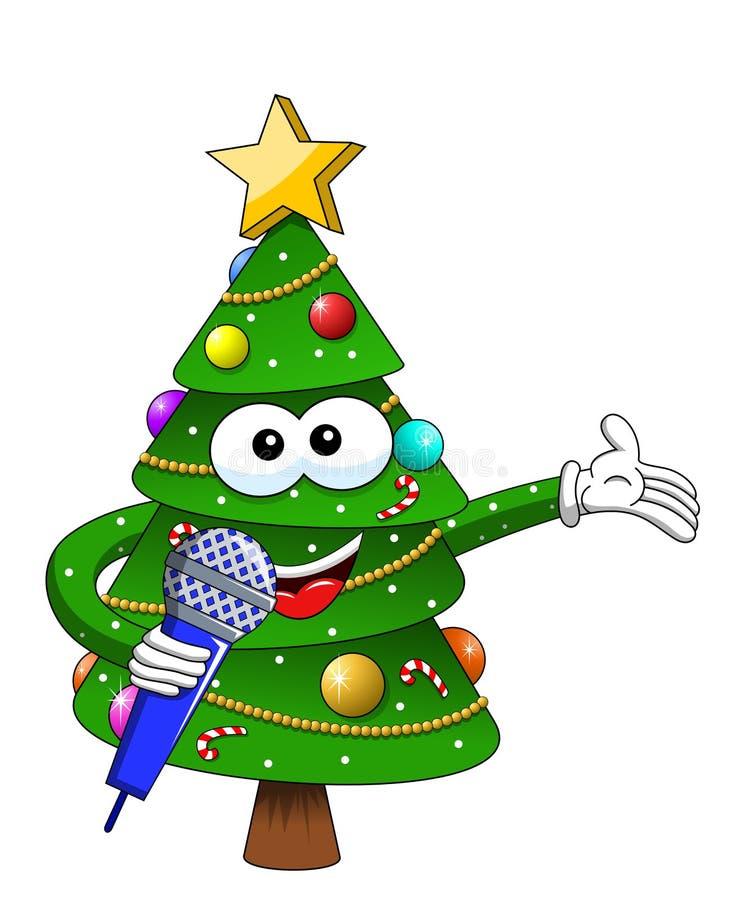 Ευτυχές μικρόφωνο ομιλίας μασκότ χαρακτήρα Χριστουγέννων ή Χριστουγέννων που απομονώνεται στην άσπρη κινούμενων σχεδίων απεικόνισ ελεύθερη απεικόνιση δικαιώματος