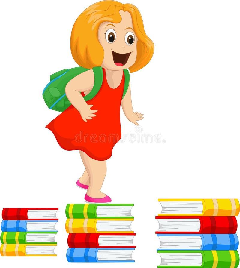 Ευτυχές μικρό κορίτσι με ένα σακίδιο πλάτης που περπατά σε έναν σωρό των βιβλίων ελεύθερη απεικόνιση δικαιώματος