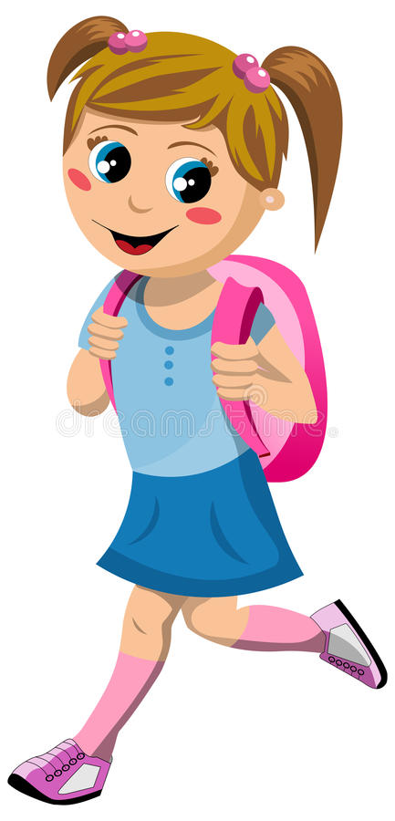 Ευτυχές μικρό κορίτσι με τη σχολική τσάντα που πηγαίνει στο σχολείο ελεύθερη απεικόνιση δικαιώματος