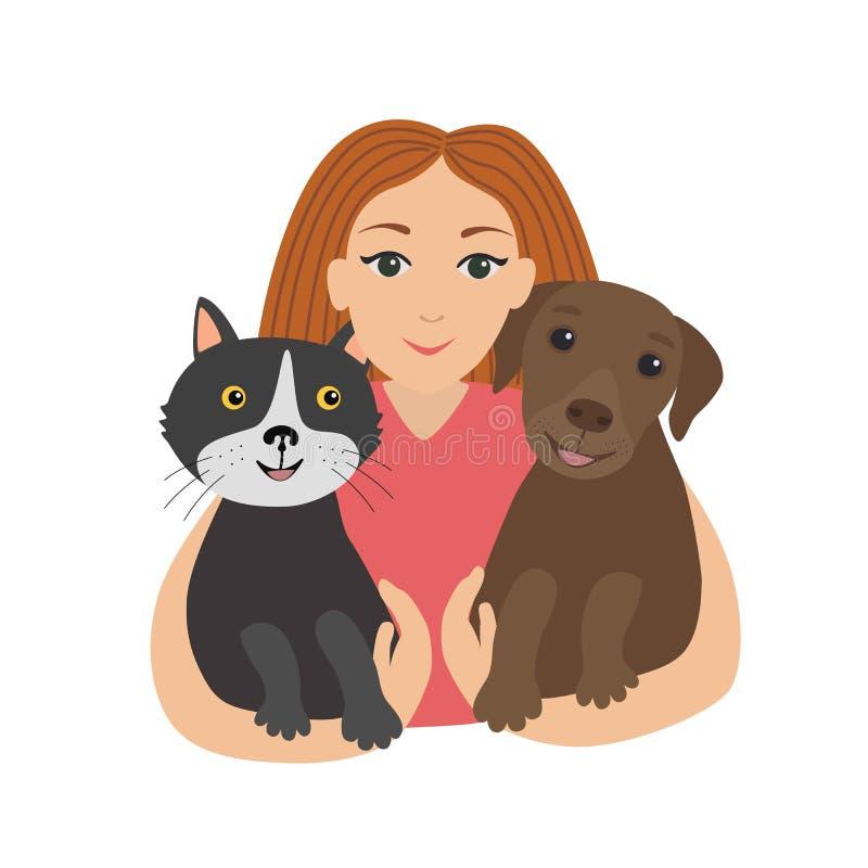 Ευτυχές μικρό κορίτσι που αγκαλιάζει τη γάτα και το σκυλί της Παιδιά και κατοικίδια ζώα διανυσματική απεικόνιση