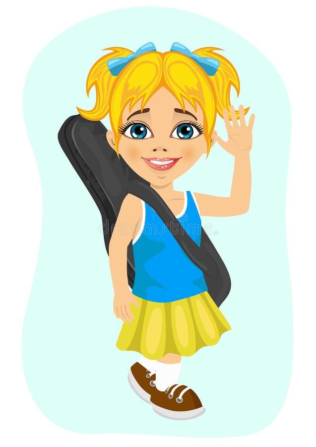 Ευτυχές μικρό κορίτσι που περπατά με την κιθάρα της διανυσματική απεικόνιση