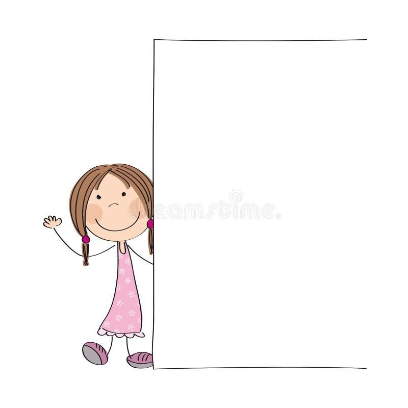 Ευτυχές μικρό κορίτσι που στέκεται πίσω από το κενό έμβλημα - διάστημα για το κείμενό σας διανυσματική απεικόνιση