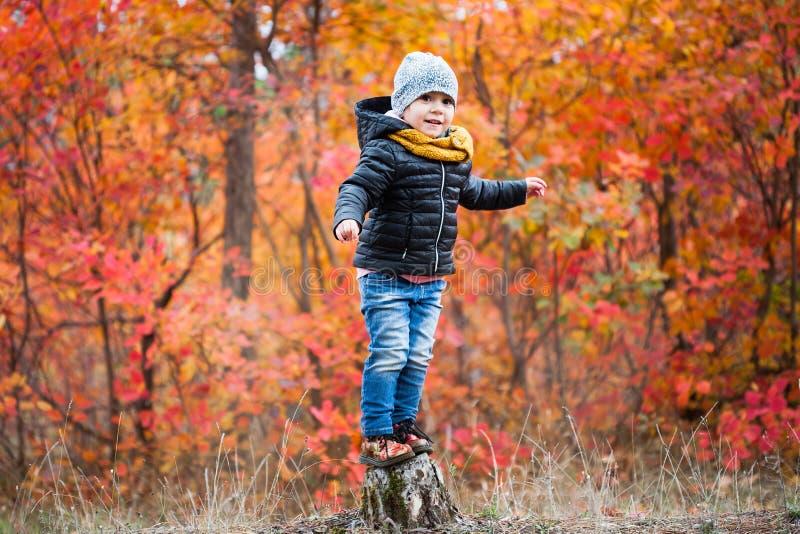 Ευτυχές μικρό κορίτσι που στέκεται στο ζωηρόχρωμο δασικό υπόβαθρο κολοβωμάτων στοκ φωτογραφία με δικαίωμα ελεύθερης χρήσης