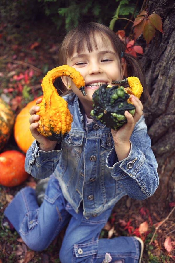 Ευτυχές μικρό κορίτσι το φθινόπωρο στοκ φωτογραφίες