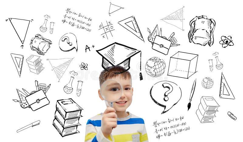 Ευτυχές μικρό παιδί που κοιτάζει μέσω της ενίσχυσης - γυαλί διανυσματική απεικόνιση