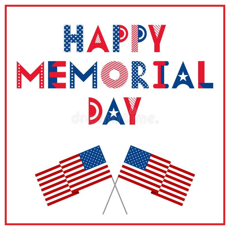 ευτυχές μνημείο ημέρας Ευχετήρια κάρτα με τις σημαίες που απομονώνονται σε ένα άσπρο υπόβαθρο Εθνικό αμερικανικό γεγονός διακοπών ελεύθερη απεικόνιση δικαιώματος