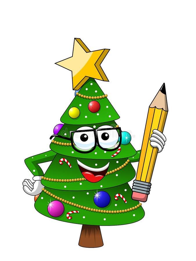 Ευτυχές μολύβι εκμετάλλευσης μασκότ χαρακτήρα Χριστουγέννων ή Χριστουγέννων που απομονώνεται στο λευκό στο διανυσματικό Ιστό απει απεικόνιση αποθεμάτων