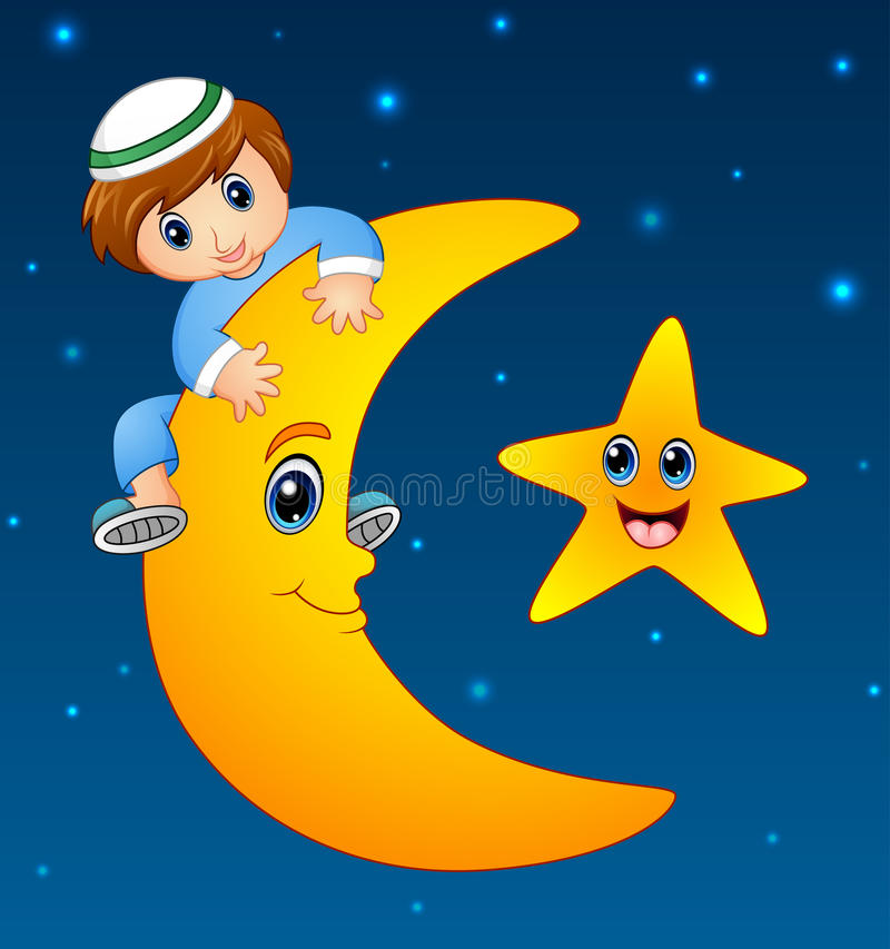 Ευτυχές μουσουλμανικό παιδί που αναρριχείται στο φεγγάρι ελεύθερη απεικόνιση δικαιώματος