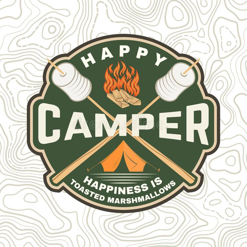 Ευτυχές μπάλωμα τροχόσπιτων Η ευτυχία είναι ψημένα marshmallows r Εκλεκτής ποιότητας σχέδιο τυπογραφίας με τη σκηνή στρατοπέδευση διανυσματική απεικόνιση