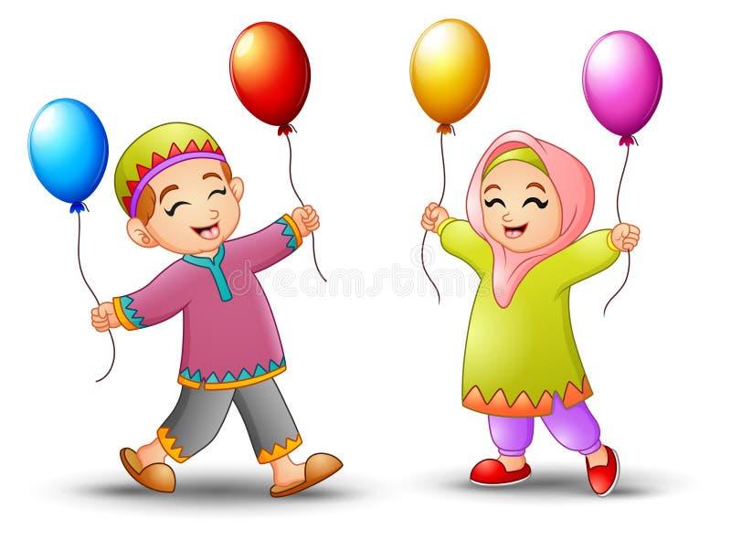 Ευτυχές μπαλόνι εκμετάλλευσης παιδιών κινούμενων σχεδίων για να γιορτάσει eid το Mubarak διανυσματική απεικόνιση