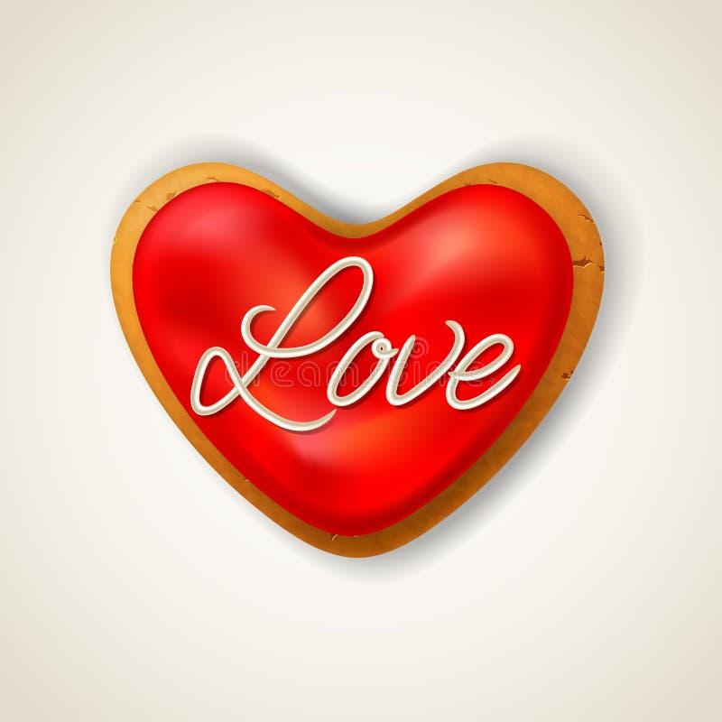 Ευτυχές μπισκότο ημέρας βαλεντίνων διανυσματική απεικόνιση