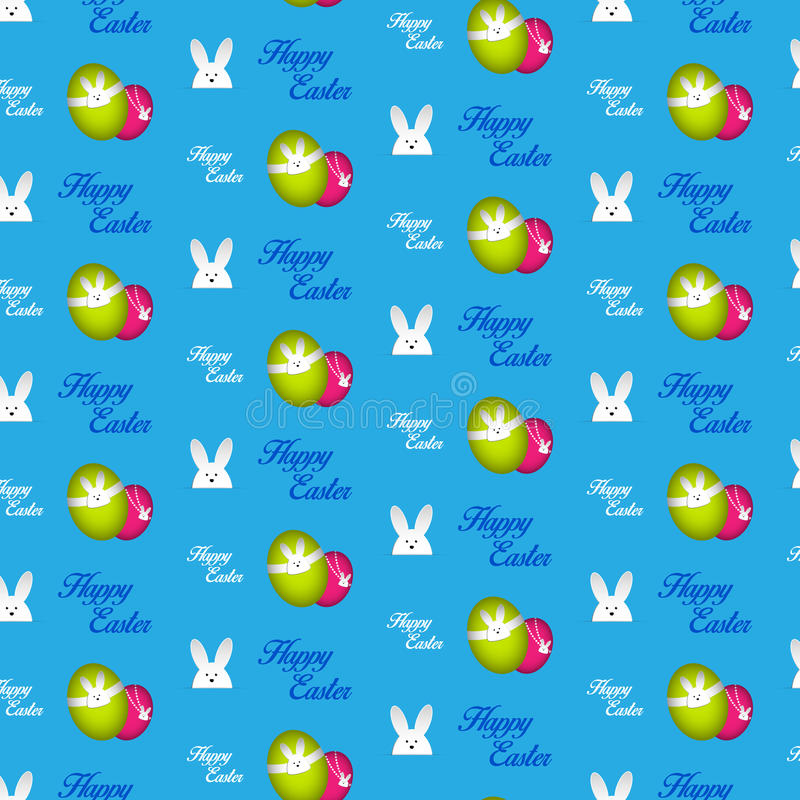 Ευτυχές μπλε άνευ ραφής υπόβαθρο λαγουδάκι κουνελιών Πάσχας διανυσματική απεικόνιση