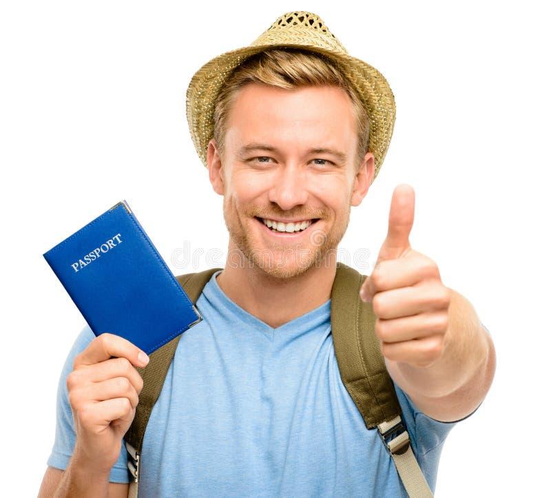 Ευτυχές νέο άσπρο υπόβαθρο διαβατηρίων εκμετάλλευσης ατόμων τουριστών στοκ εικόνα με δικαίωμα ελεύθερης χρήσης