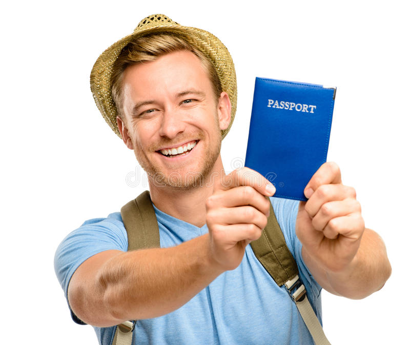 Ευτυχές νέο άσπρο υπόβαθρο διαβατηρίων εκμετάλλευσης ατόμων τουριστών στοκ φωτογραφία