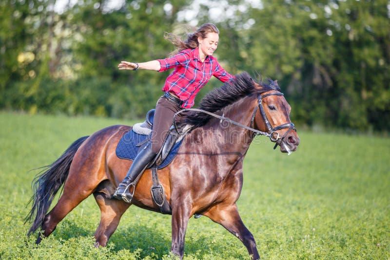Ευτυχές νέο άλογο οδήγησης γυναικών στην ηλιόλουστη θερινή ημέρα στοκ φωτογραφία
