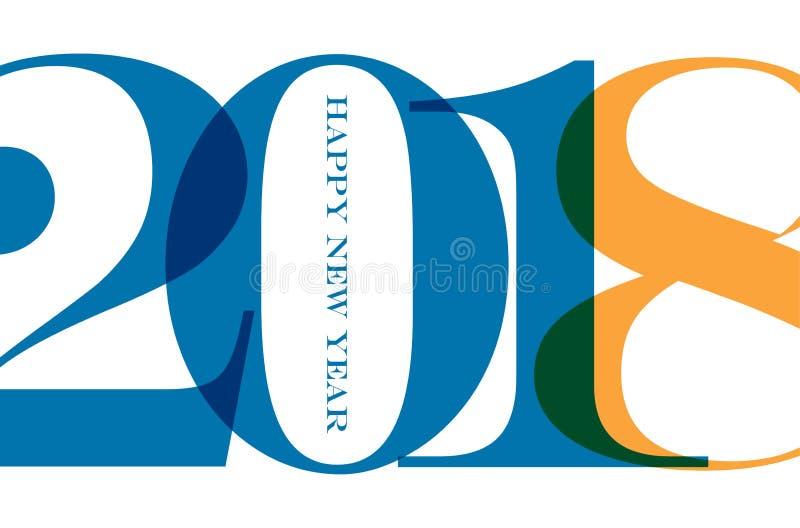 Ευτυχές νέο έτος του 2018 γύρω από τον ευτυχή χιονάνθρωπο χαιρετισμών παραμονής χορού κύκλων Χριστουγέννων παιδιών καρτών Ζωηρόχρ διανυσματική απεικόνιση