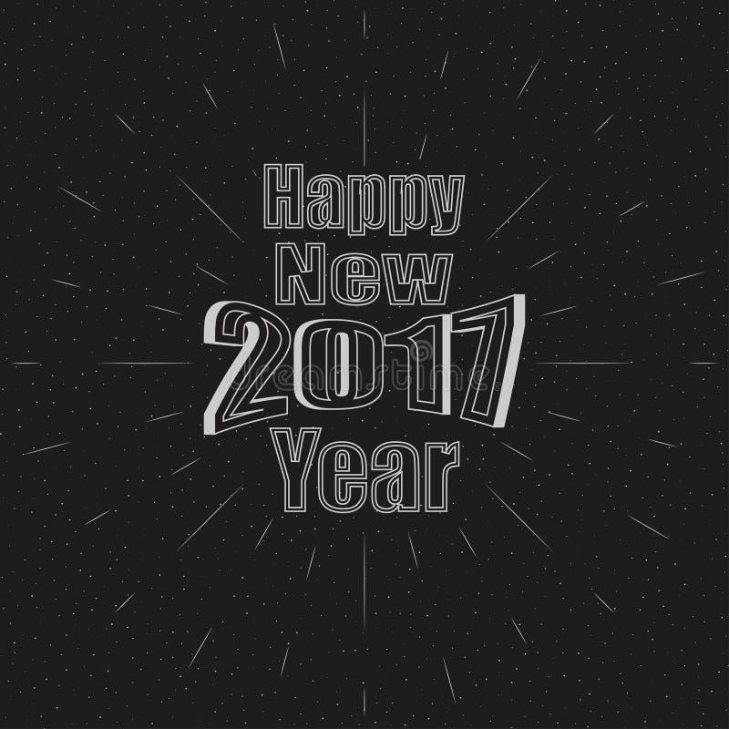 Ευτυχές νέο έτος του 2017 Διανυσματική απεικόνιση διακοπών με τη σύνθεση και την έκρηξη εγγραφής απεικόνιση αποθεμάτων