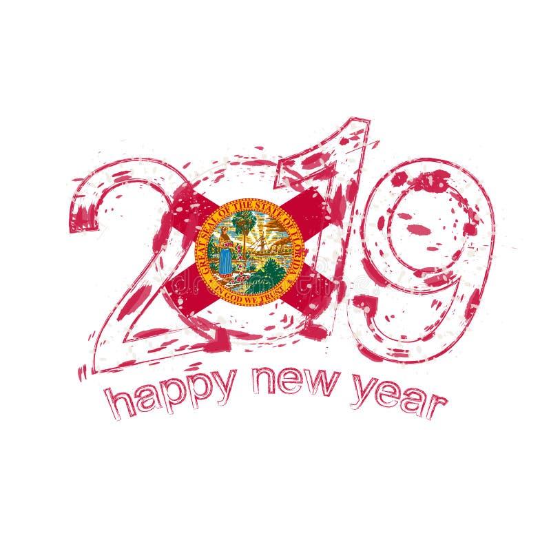 Ευτυχές νέο έτος του 2019 με τη σημαία του κράτους της Φλώριδας ΗΠΑ Διακοπές grung ελεύθερη απεικόνιση δικαιώματος