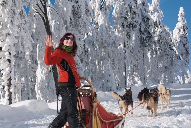 Ευτυχές νέο γυναίκα-musher στοκ εικόνα με δικαίωμα ελεύθερης χρήσης