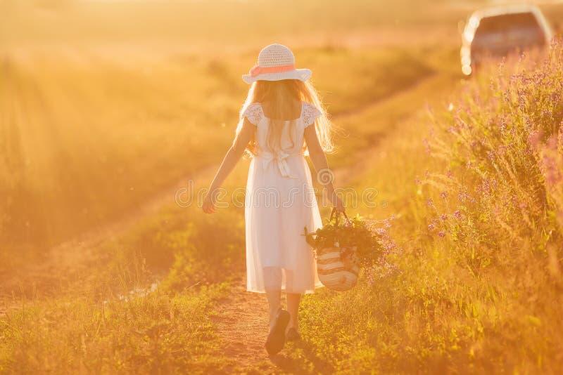 Ευτυχές νέο ελκυστικό κορίτσι που περπατά σε έναν τομέα στοκ εικόνες