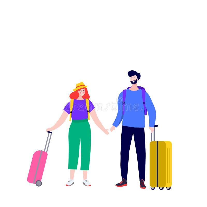 Ευτυχές νέο ζεύγος με τις αποσκευές στην άφιξη και την αναχώρηση Newlyweds στη μύγα αερολιμένων σε ένα ταξίδι με τις βαλίτσες διανυσματική απεικόνιση