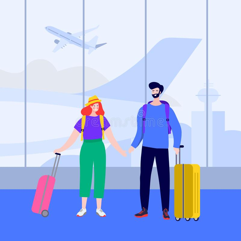 Ευτυχές νέο ζεύγος με τις αποσκευές στην άφιξη και την αναχώρηση Newlyweds στη μύγα αερολιμένων σε ένα ταξίδι με τις βαλίτσες ελεύθερη απεικόνιση δικαιώματος