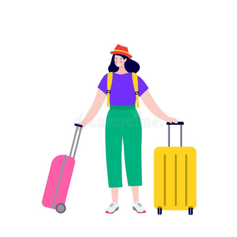 Ευτυχές νέο ζεύγος με τις αποσκευές στην άφιξη και την αναχώρηση Ταξίδι χαρακτήρων ανδρών και γυναικών Newlyweds στον αερολιμένα απεικόνιση αποθεμάτων